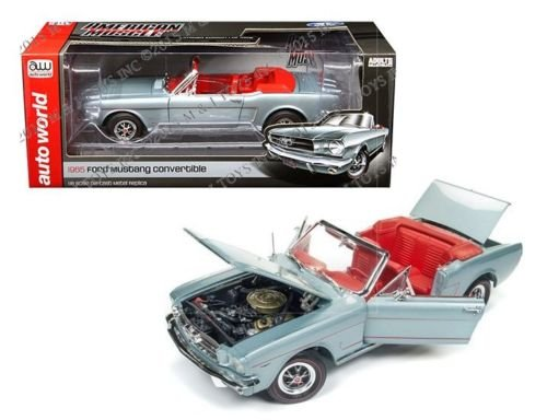 1965 Ford Mustang Convertible - AUTO WORLD 1:18 AMERICAN MUSCLE - 1965 FORD MUSTANG CONVERTIBLE AMM1103