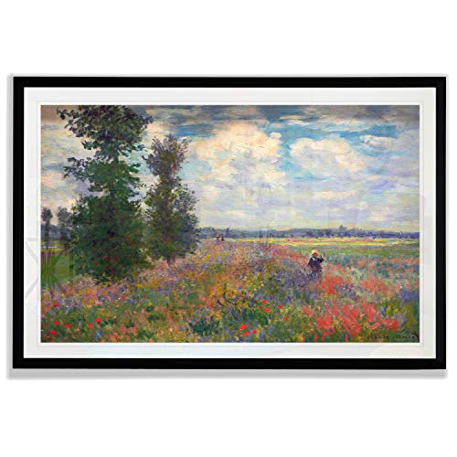 Monet Wall Art Collection Poppy Field, Argenteuil Fine Giclee Prints Wall Art in Premium Quality Framed Ready to Hang 20X28, Black