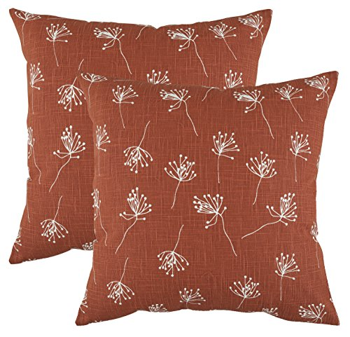 (TreeWool Decorative Square Throw Pillow Covers Set Dandelion Accent 100% Cotton Linen Cushion Cases Pillowcases (18 x 18 Inches / 45 x 45 cm; Rust Brown in Cream Background) - Pack of 2)