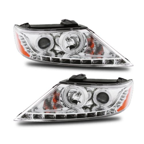 SPPC Projector Headlights Chrome Assembly Set (CCFL Halo) For Kia Sorento - (Pair) Driver Left and Passenger Right Side Replacement Headlamp Chrome Ccfl Halo Projector