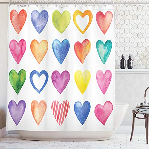 Ambesonne Valentines Day Grunge Home Decor Shower Curtain, Rainbow Hearts Love Valentine's Day Romantic His and Hers Theme, Polyester Bathroom Set with Hooks, 69W X 70L Inches, Blue Yellow - Heart Shower Curtain