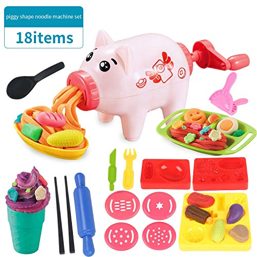 - Play Dough Toys for Toddler,Playdough Tool Molds,Upgrade Version of Children's Spree,Kitchen Playset,Cartoon Shape Pig Noodle Mania Set