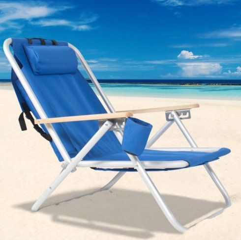Beach Chair-Backpack Beach Chair Folding Portable Chair Blue Solid Construction Camping-Patio Chairs--Color Blue-Patio Furniture Sets-For camping, pool days, patio furniture and so much more-Guaranteed! by Patio Chairs