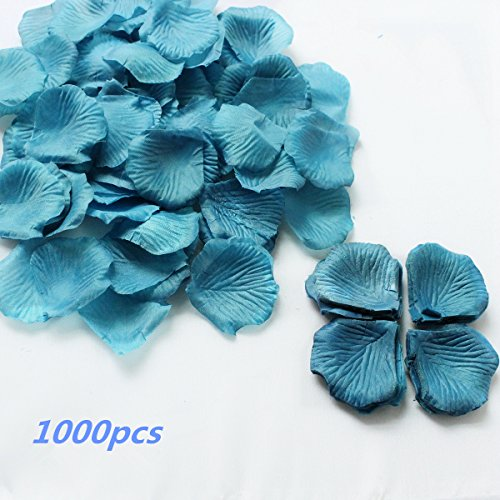 Dealzip Inc Teal Blue 1000Pcs - Artificial Silk Rose Flower Petals Wedding Table Scaters Confetti For Bridal Wedding Party - Petals Teal