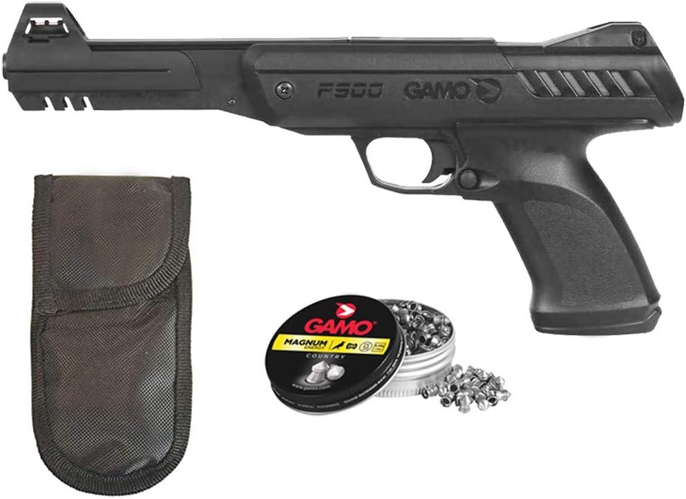 Tiendas LGP - Gamo - Pack Pistola Aire Comprimido P-900, Pistola perdigones Potencia de 3,5 Julios, 4,5 mm, Velocidad de Salida 105 m/s, Longitud 32 cm. + Funda Portabalines + 250 Balines