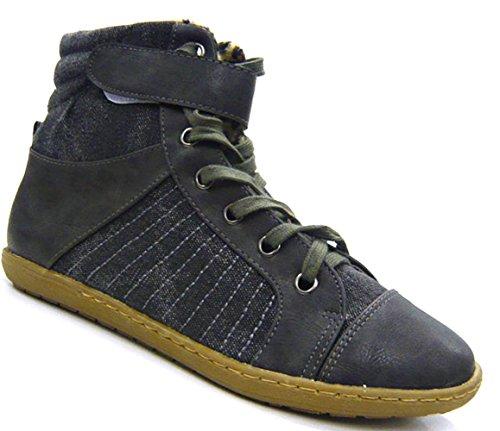 Schuh-City High Top Sneaker gefütterte designer High Class Stiefelette grau  37