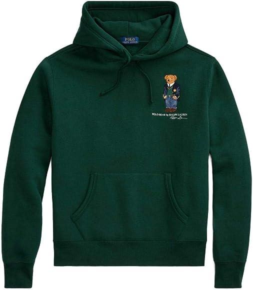 Felpa Ralph Lauren LS Po Hood Polo Bear Verde Hombre S Verde ...
