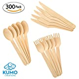 "Wooden Disposable Cutlery Combo Set – 300 pc - 100 Forks, 100 Spoons, 100 Knives, 6"" Utensils - Eco Friendly, Biodegradable, Compostable – Parties, Weddings, Gatherings – FORGET Plastic, GO GREEN!"