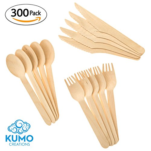 "Wooden Disposable Cutlery Combo Set – 300 pc - 100 Forks, 100 Spoons, 100 Knives, 6"" Utensils - Eco Friendly, Biodegradable, Compostable – Parties, Weddings, Gatherings – FORGET Plastic, GO GREEN! by KUMO Creations"