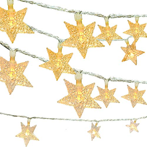 Viewpick LED Star String Lights 50 Xmas Warm White Star Twinkling Fairy Lights Battery Operated Lights for Christmas Wedding Princess Castle Play Tents Princess Tent Bedroom Children Room - Light Princess
