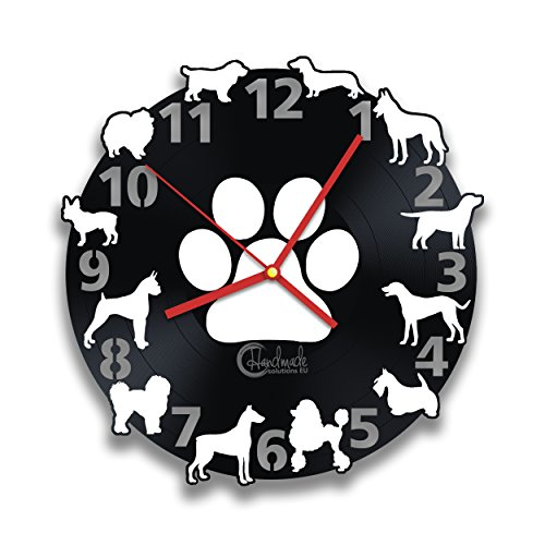 All Dogs Breeds Vinyl Record Wall Clock, Handmade Solutions Black and White Puppy Dog Art Idea, Animal Home Interior Decoration -