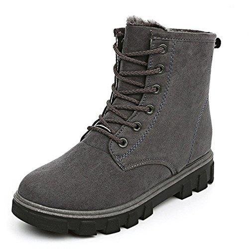 Eagsouni® Worker Boots Damen Gefüttert Stiefeletten Winter Kurz Schnür Martin Stiefel Schuhe Warm Derby Combat Boots Grau