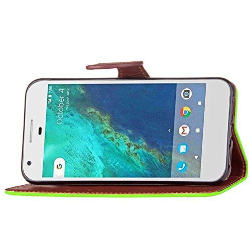 Trumpshop Smartphone Carcasa Funda Protección para Google Pixel (5.0) + Rojo + PU Cuero Caja Protector Billetera con Cierre magnético la Ranura la Tarjeta Choque Absorción Verde