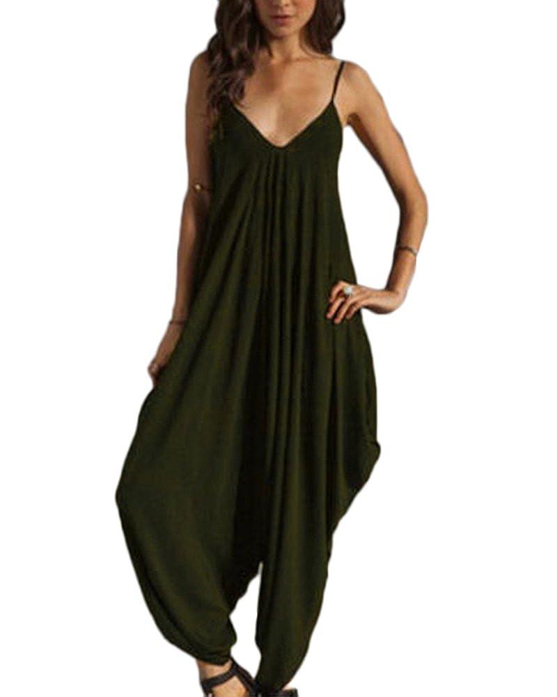 Mujer Mono De Harem Talla Grande Jumpsuits Cuello En V De Tirantes Bodysuit Mono Playsuit Rompers Clubwear