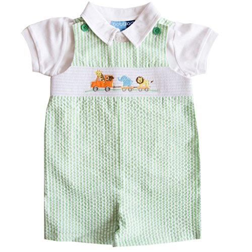 Good Lad Newborn/Infant Boys Green Seersucker Smocked Shortall Set With Animal Appliques (6/9M) (Clothes Smocked)