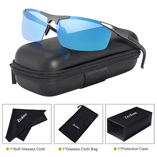 Zealme Polarized Night Vision Anti Glare Driving Sports Lightweight Durable Unbreakable Frame Baseball Cycling Fishing Bicycle Motorcycle Hiking UV 400 Sunglasses for Men Women (Blue) - Glasses Wide Rim