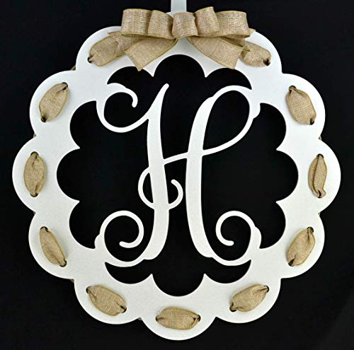 - Letter H - Monogrammed Door Hanger | Mom Gift | White and Burlap Everyday Year Letter Door Hanger