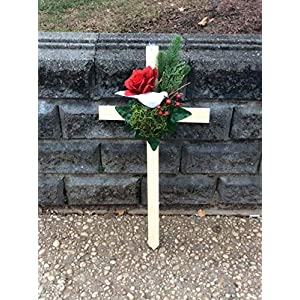 Cemetery Cross, Memorial Cross, White Dove, Red Rose 101