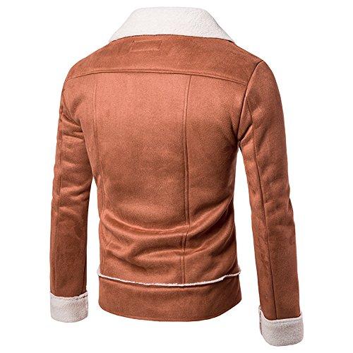 Grande Camicia m Maniche Zip Composito Giacca Marrone end High Uomo Elegante Al Casual Personalità Collare Corpo qrx04qaC