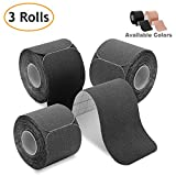 Kinesiology Tape Precut (3 Rolls pack), Poshei Elastic Therapeutic Sports Tape Pro for Shoulder Knee Elbow Ankle, Waterproof, Breathable, Latex free, 2'' x 16.5 feet Per Roll (Black)