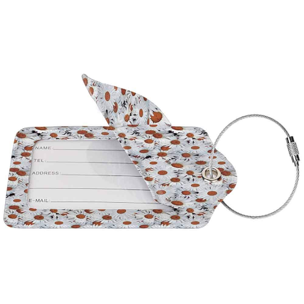 Small luggage tag Floral Print Daisy Field White Flowers Decor Spring Park Quickly find the suitcase Long W2.7 x L4.6