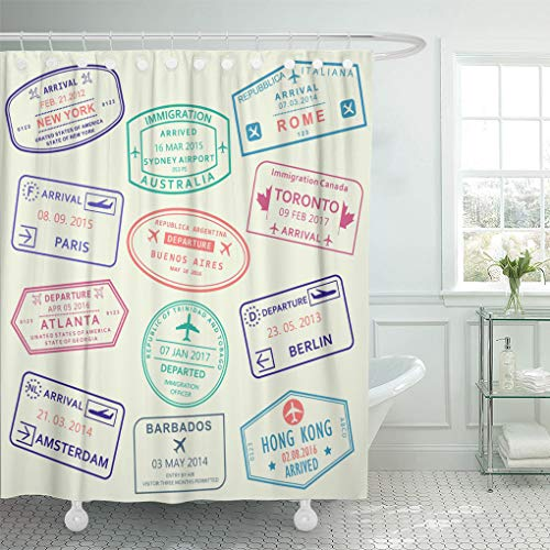 Emvency Shower Curtain Colorful Country Custom and Travel Passport Stamp International Airport Visa Rome Shower Curtains Sets with Hooks 72 x 78 Inches Waterproof Polyester Fabric
