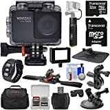 Vivitar DVR794HD 1080p HD Wi-Fi Waterproof Action Video Camera Camcorder (Black) Remote, Helmet, Bike & Suction Cup Mounts + 32GB Card + Case + Power Bank Grip Kit