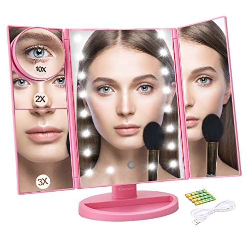 Price comparison product image Ceenwes Makeup Mirror Trifold Touch Screen Vanity Mirror with 21 LED Lights Lighted makeup mirror with 4 Magicfly 10/3/2/1X Mirror Dual Power Supply 180°Adjustable Stand Light Up Mirror for Cosmetic