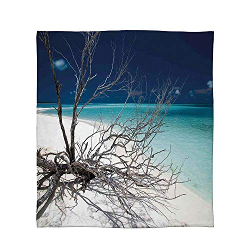 C COABALLA Flannel Blanket,Driftwood Decor,for Living Room Bedroom Hotel,Size Throw/Twin/Queen/King,Seascape Theme Driftwood on The White Sandy