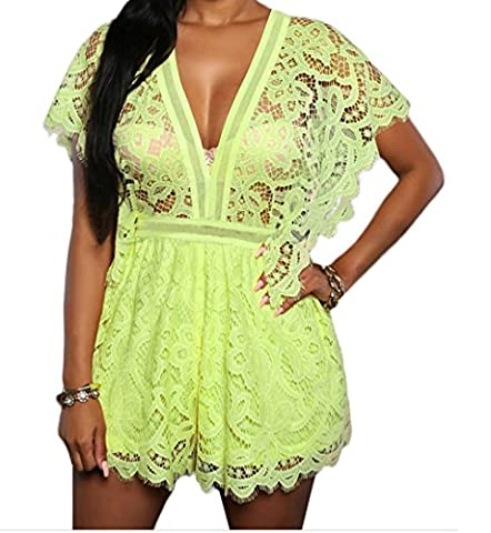 Christmas DH-MS Dress Women's Lace Sheer Top Romper Yellow M (Burke Wireless Mouse)