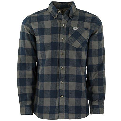 (Mossy Oak Mens Buffalo Plaid Flannel Shirt)