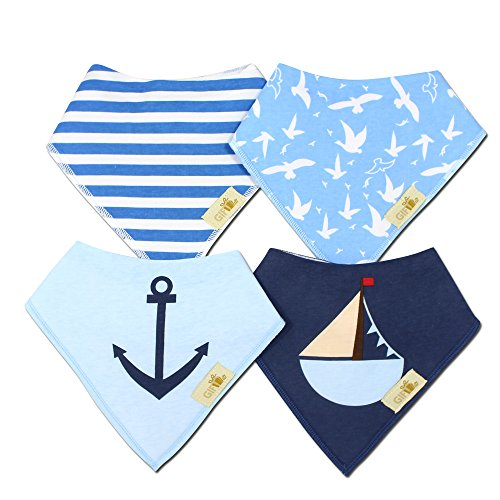 Gift it! Baby Bandana Drool bibs. Little sailor - Super Absorbent, Soft, Organic cotton & Soft design Set of 4 - Cute Baby Shower Gift.