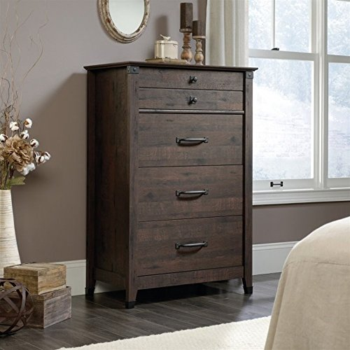 Sauder Carson Forge 4 Drawer Chest in Coffee Oak by Sauder