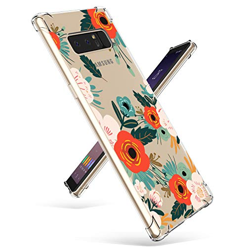Samsung Note 8 Case, GVIEWIN Slim Flora Clear Case Shock Absorption Technology Bumper Soft TPU Cover for Note 8 (Flowering/Reseda Green)