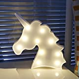 IIU Unicorn Night Light, Cool Led Light Up Decorative Wall Lamps for Baby Kids Girls Bedroom and Gifts Party Supplies, Top White