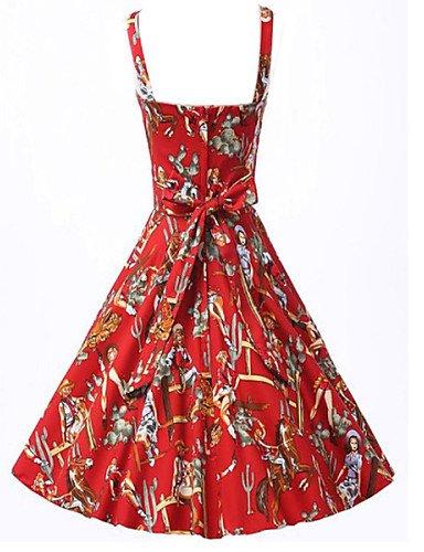 PU&PU Robe Aux femmes Patineuse Vintage , Imprimé A Bretelles Au dessus du genou Coton / Polyester , red-2xl , red-2xl