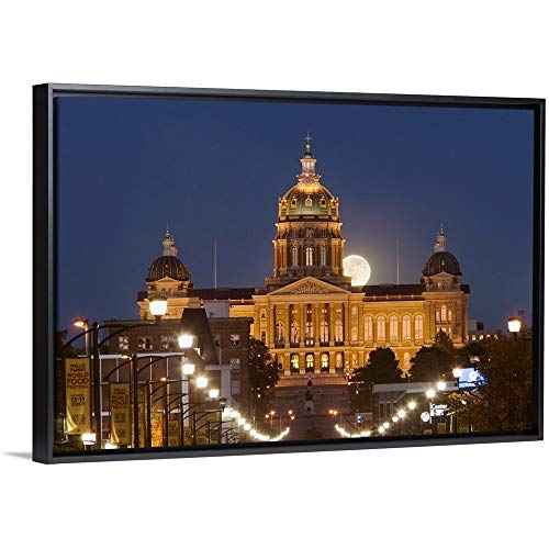 Iowa State Capitol Building - Floating Frame Premium Canvas with Black Frame Wall Art Print Entitled Facade of a Government Building, Iowa State Capitol, Des Moines, Iowa 18