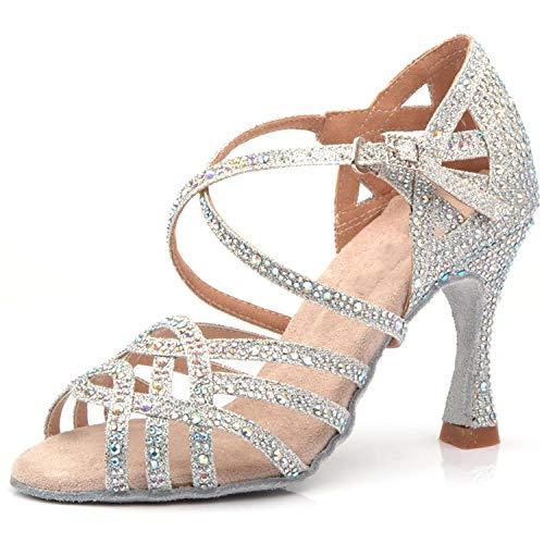 Silver Blue Rhinestone Latin Dance Shoes Women Salas Ballroom Shoes Pearl High Heel 9cm Waltz Software Shoes, Silver Heel 7.5cm,11]()