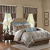 King Size Comforter Sets with Matching Curtains Madison Park Essentials Brystol King Size Bed Comforter Set Room In A Bag - Blue, Taupe, Jacquard Embroidered Paisley – 24 Pieces Bedding Sets – Faux Silk Bedroom Comforters