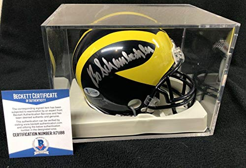 (Bo Schembechler Signed Michigan Wolverines Mini Helmet Beckett COA W/Cube - Beckett Authentication - Autographed College Mini Helmets)