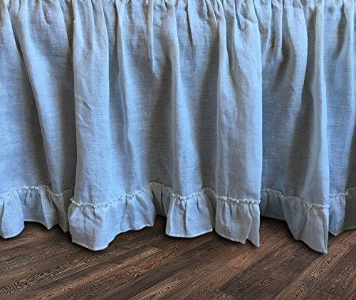 White Linen Bedskirt with country ruffle hem, White Bed Skirt, White Bed Ruffles, Linen Dust Ruffle, Shabby Chic Bedding, Twin Bed Skirt, Queen Bed Skirt, King Bed Skirt, HANDMADE, FREE SHIPPING Shabby Chic Shabby Bedskirt