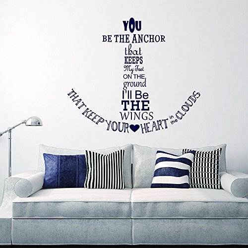 Nautical Kitchen Decor - Wall Decal Decor Nautical Anchor Wall Decal Quote - You Be The Anchor That Keeps My Feet On The Ground - Vinyl Stickers Wall Lettering(navy blue, 22