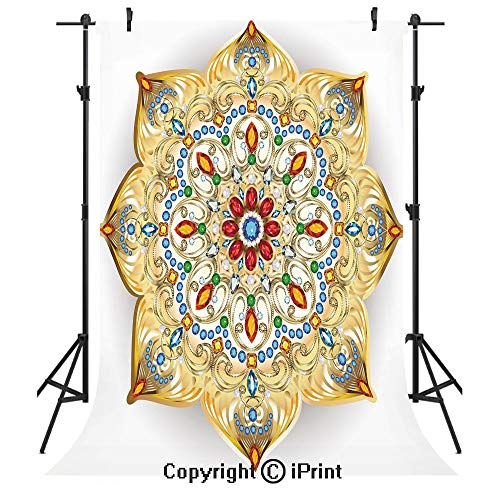 Gold Mandala Photography Backdrops,Brooch Inspired Design Mandala Geometric Vintage Lively Figure Digital Print Decorative,Birthday Party Seamless Photo Studio Booth Background Banner 6x9ft,Multicolor ()