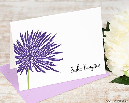 CHRYSANTHEMUM FOLDED - Personalized Flower Stationery/Stationary Notecard Set
