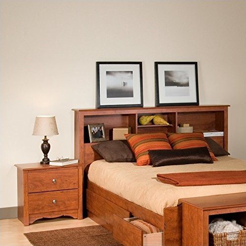 Prepac Monterey Cherry Double or Queen Bookcase Headboard 2 Piece Bedroom (Set Shaker Bookcase Bookcase)