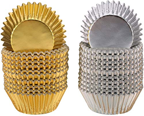Aluminum Thickened Foil Cups Cupcake Liners Mini Cake Muffin Molds Baking Molds (Silver/Gold) 200