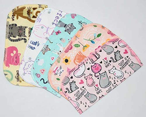 1 Ply Printed Flannel Little Wipes 8x8 Inches Set of 5 The Cats Meow
