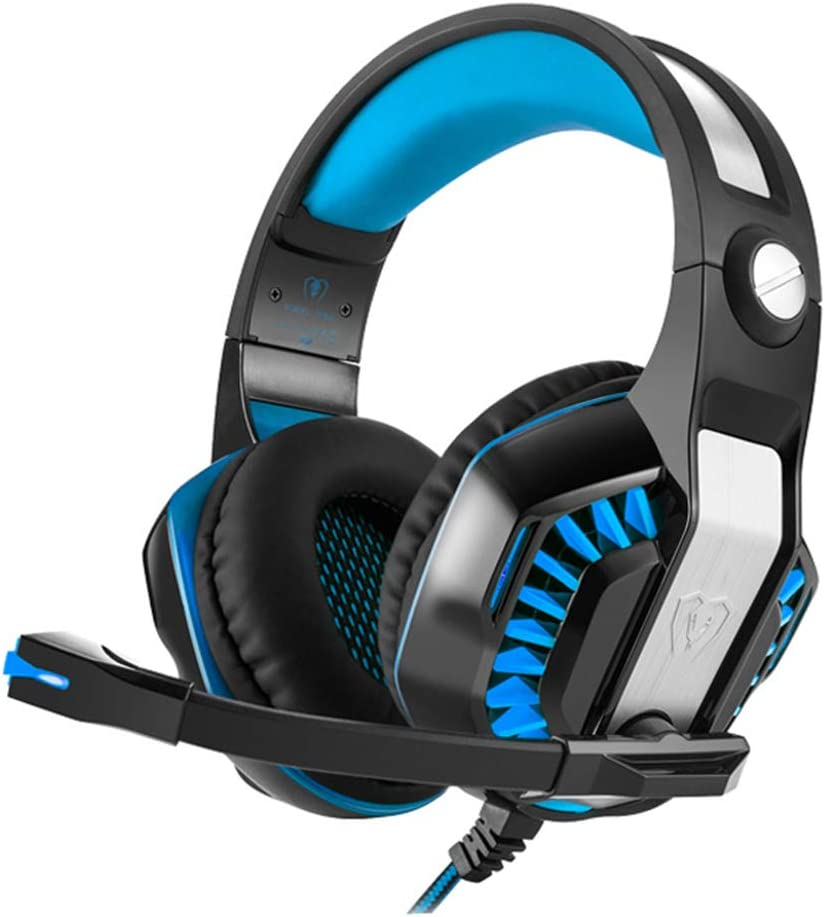 PS4 HUAXING Gaming Headset 50mm Driver Surround Sound Stereo USB Headset with Noise Cancelling Mic LED Light Compatible with PC