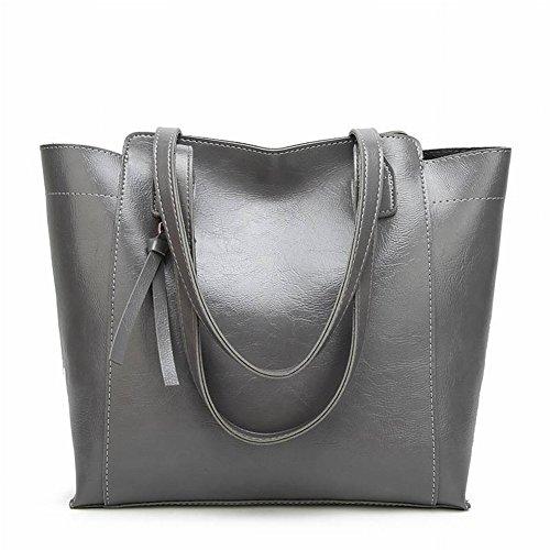 Shoulder Bag Pu Leather Handbag Fashion Handbag Simple Bag Hand Shoulder Bag Wild Type Bucket Woman Handbag Suture Zipper Pocket Cell Phone Pocket