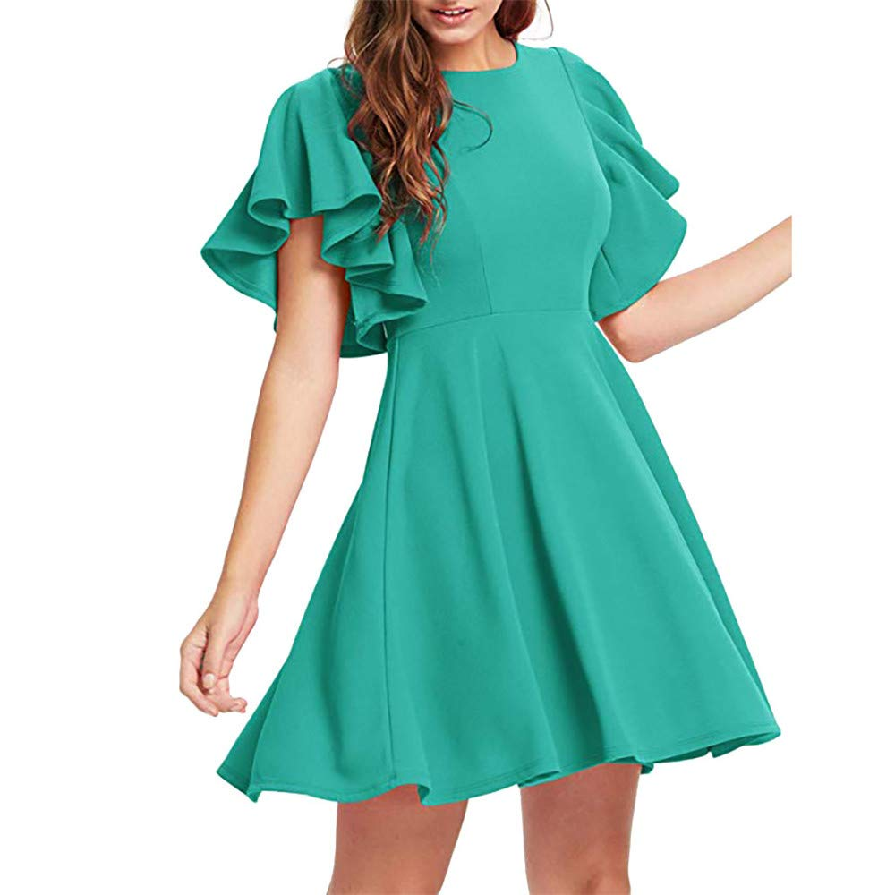 Vickyleb Swing Dress, Womens Casual A Line Flared Skater Cocktail Dress O-Neck Dresses Party Dresses for Women Elegant Green